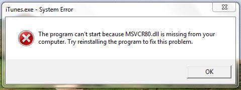 msvcr80.dll error