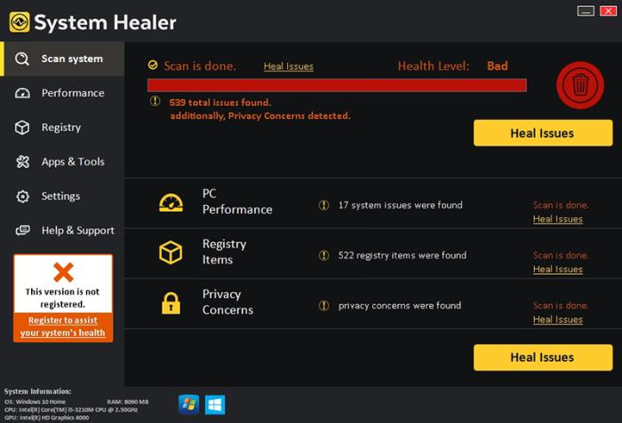 System Healer GUI