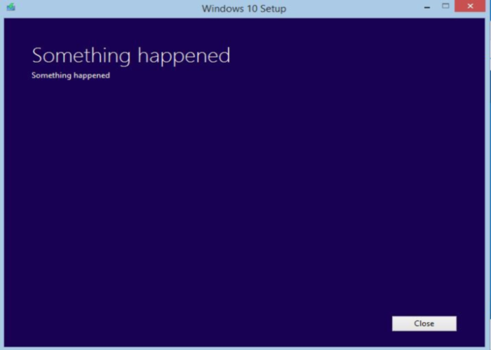 windows 10 something happened error