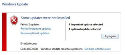 Windows Update error 0x8007000d