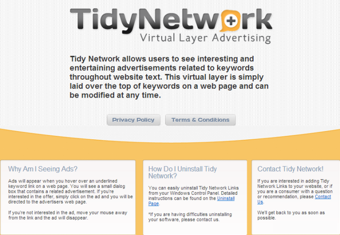 TidyNetwork page
