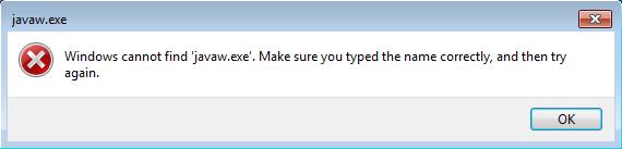Windows no puede encontrar el error javaw.exe