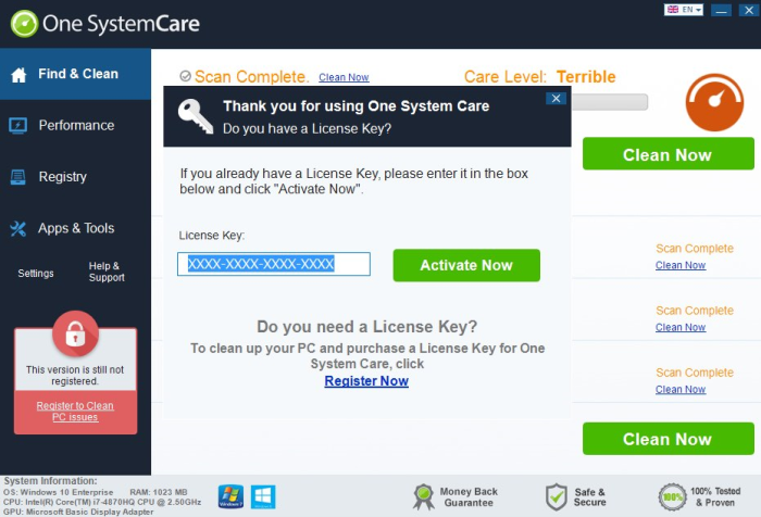 One SystemCare GUI