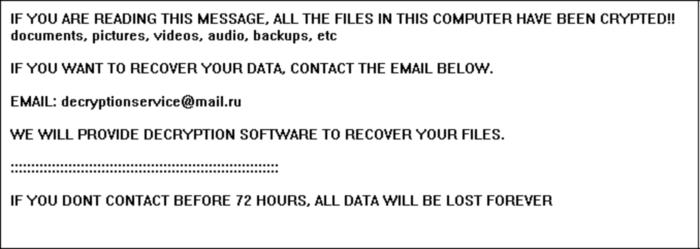 Apocalypse ransomware note