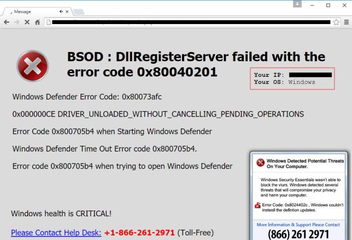 BSOD Error scam text