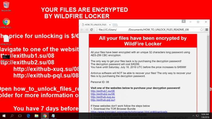 WildFire Locker notification