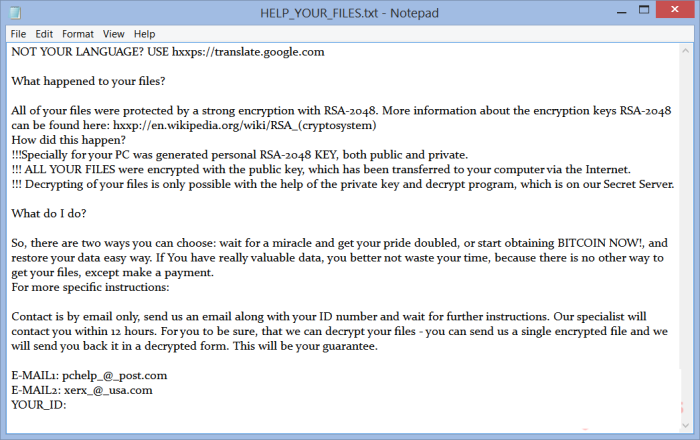 CryptFile2 ransomware note