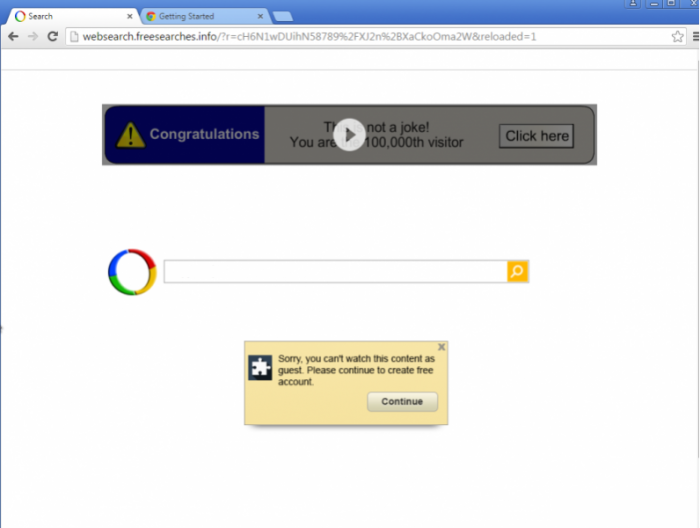 Google redirect page