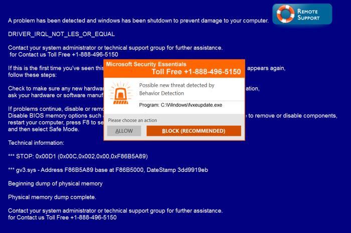 Microsoft Security Essentials pop-up