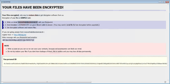 Recoverhelp@protonmail.ch Ransomware note