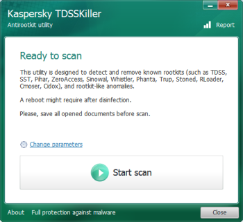 GUI de la herramienta TDSSKiller