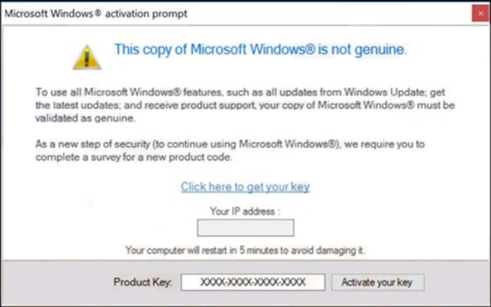 Microsoft Windows Is Not Genuine message