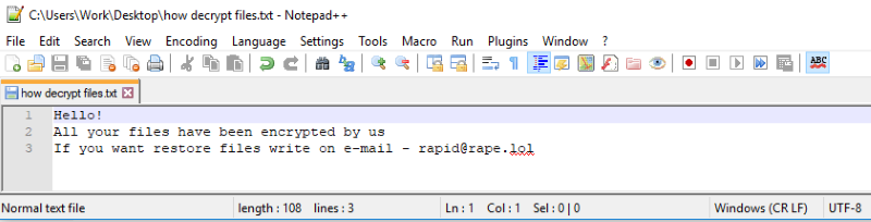 How to remove Rapid ransomware and decrypt  rapid or
