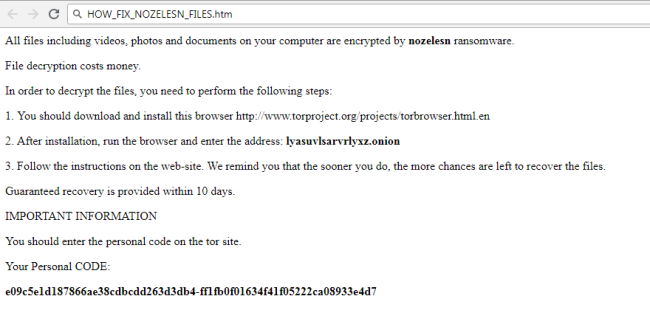 How to remove Nozelesn Ransomware and restore  nozelesn files