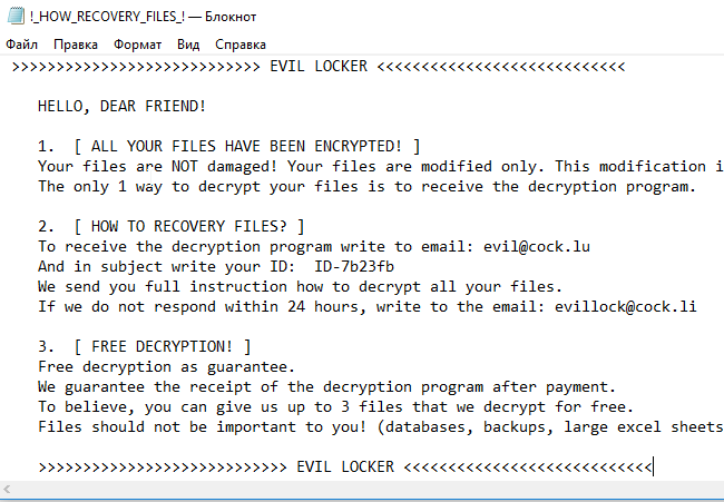 How to remove Evil Locker Ransomware and decrypt  EVIL files