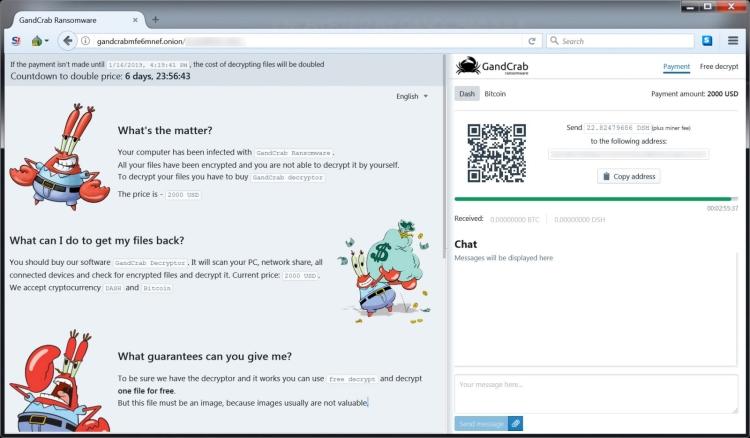 GANDCRAB 5.2 ransomware