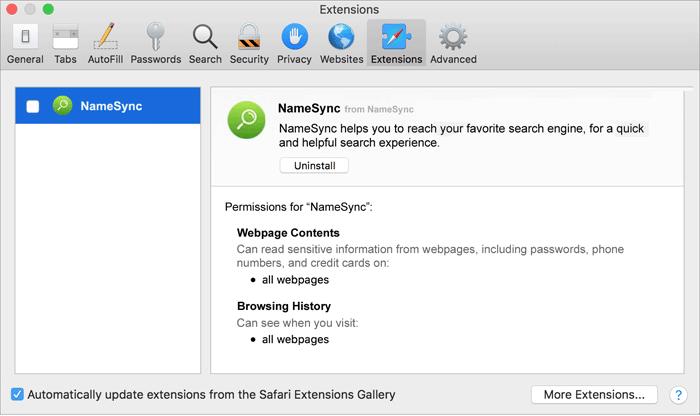 Delete http://NameSync/ virus from Mac