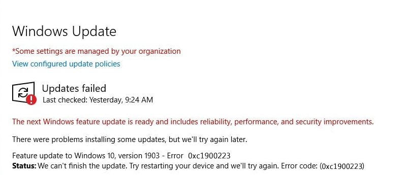 fix error 0xc1900223 on Windows 10